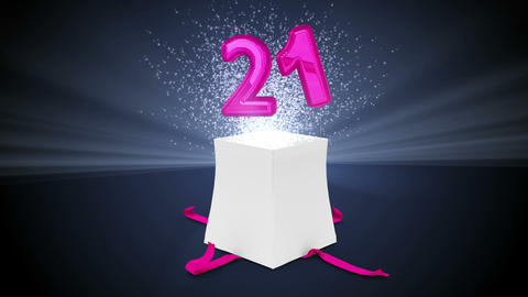 Digital animation of birthday gift exploding and revealing number twenty one Animation
