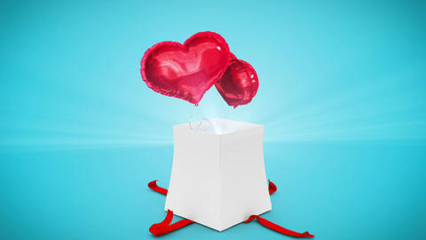 Digital Animation Of Birthday Gift Exploding And Revealing Heart stock footage