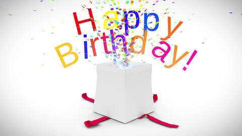 Digital Animation Of Birthday Gift Exploding stock footage