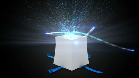 Digital Animation Of Birthday Gift Exploding And Revealing Technology Concept stock footage