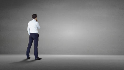 Businessman standing and thinking Animation
