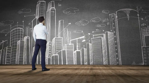 Businessman looking at cityscape doodle Animation