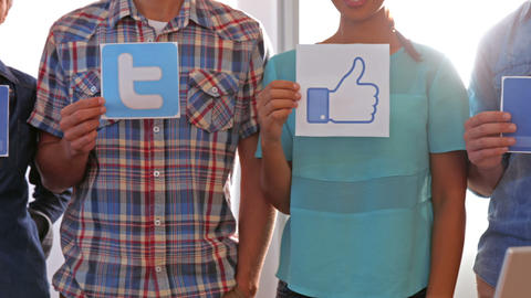 Creative Business Team Showing Social Network Logo stock footage