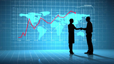 Business people shaking hands in front of global business interface Animation