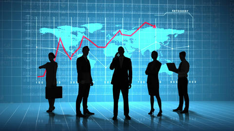 Business people in front of global business interface Animation