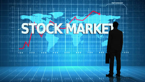 Businessman in front of global business interface with the word Stock Market Animation