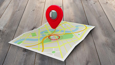 Red marker pointing at a map of a town Animation