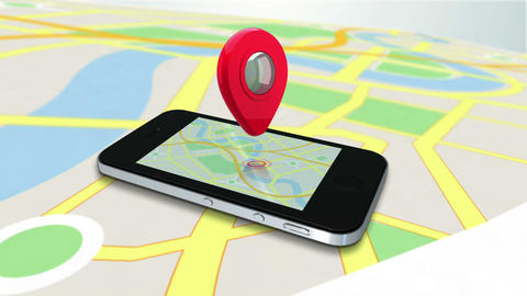 Red marker pointing on a mobile by zooming in on a map Animation