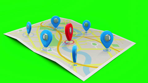 Red marker on a map surrounded by blue markers Animation