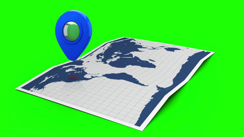 Blue pointer on a world map Animation