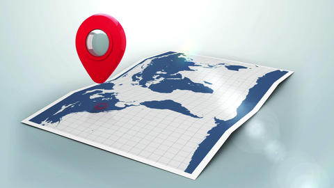 Red pointer on a world map with lens flare Animation