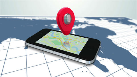Mobile lying on a map zooming in to a red marker Animation
