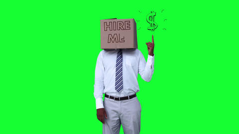 Businessman wearing hire me box and pointing on dollar sign against greenscreen Animation