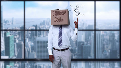 Businessman wearing hire me box and pointing on dollar sign Animation