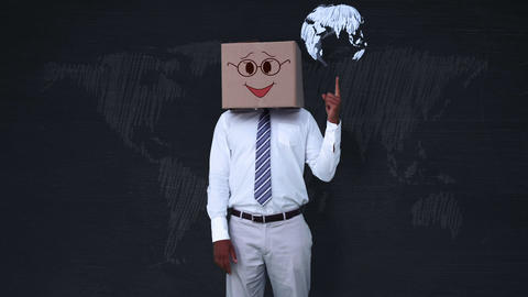 Businessman wearing smiley face box pointing on globe Animation
