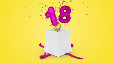 Birthday Gift Exploding With Confetti And Balloon Eighteen Against Yellow Backgr stock footage