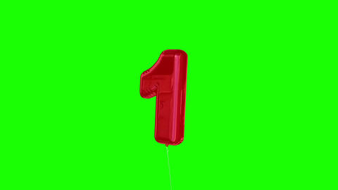 Red one balloon floating to the top against greenscreen Animation