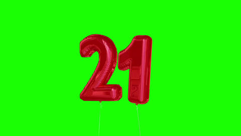 Red twentyone balloon floating to the top against greenscreen Animation