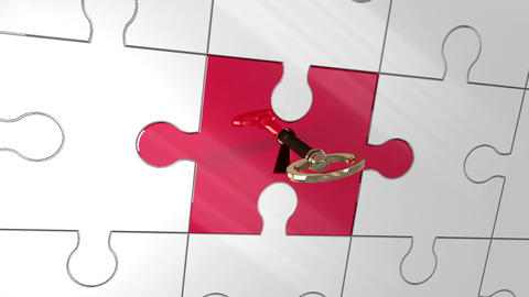 Key unlocking red piece of puzzle showing teamwork Animation
