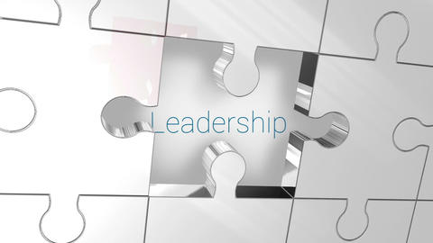 Key unlocking red piece of puzzle showing leadership Stock Video Footage