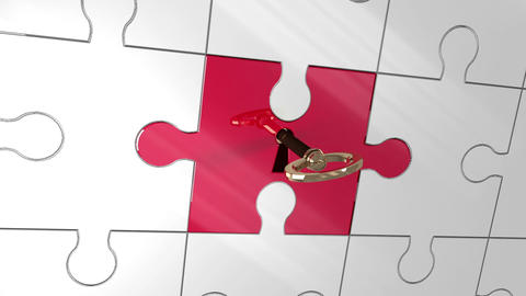 Key unlocking red piece of puzzle showing creativity Animation