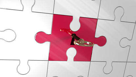 Key unlocking red piece of puzzle showing staff Animation