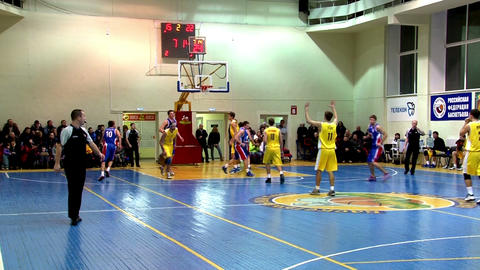 Men's Basketball Game In The Gym stock footage
