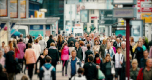 Crowd On Busy Street stock footage