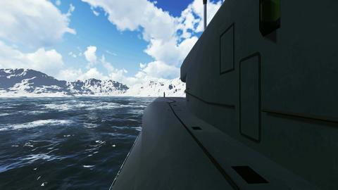 Russian ballistic missile submarine Borei. Close-up Footage