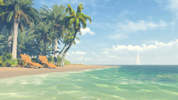 Beautiful tropical scenery. Clear ocean and sandy beach Live Action