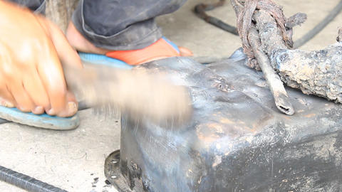 Surface Preparing The Crack of Oil Pan And Electric Arc Welding Footage