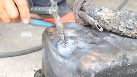 Electric Arc Welding The Crack of Oil Pan Car Part Repairing Footage