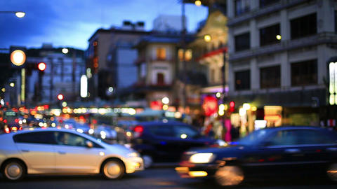 People and cars cross the intersection in Kyoto. /motion blur/ ライブ動画