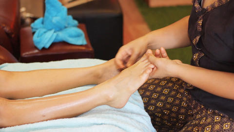 Thai foot massage in a spa Footage