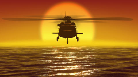 Helicopter over waves and sunset Animation