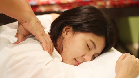 back massage in Thai traditional massage Footage