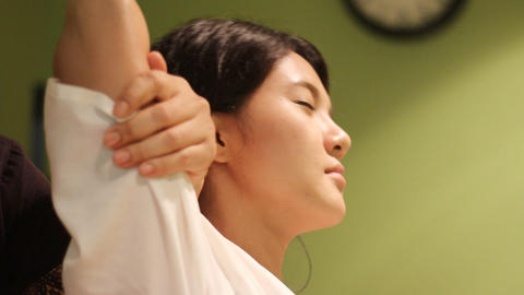 Young woman happy with Thai massage in spa Footage