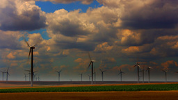 Sunset and Wind Turbines, Time Lapse, Pan Footage