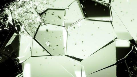 Splitted and Shattered glass with slow motion. Alpha Animation
