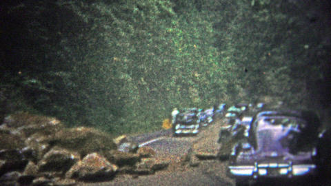 TENNESSEE, USA - 1952: Rock slide blocks traffic on the way through the Great Sm Footage