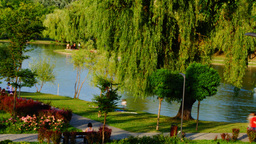 Sunday Afternoon In The Park, Bucharest, Romania, Pan stock footage