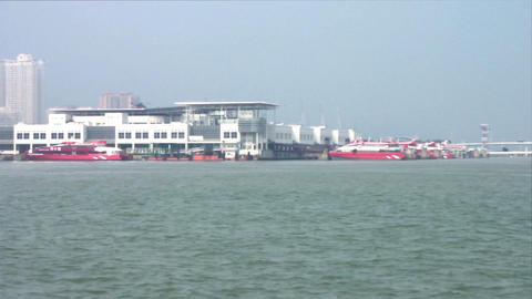 Macau - 20 October 2013: View of Outer Harbour Ferry Terminal Footage