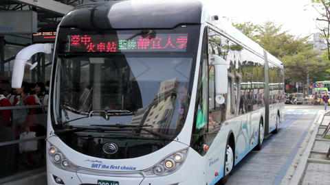 Taichung BRT, Taichung Railway Station Stop. HD Footage
