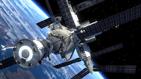 Space Shuttle And Space Station Orbiting Earth Animation