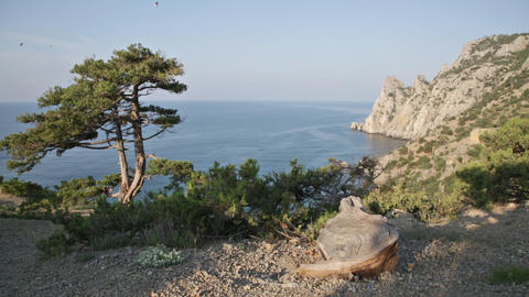 Beautiful View Of Blue Bay From Cape Kapchik In Crimea Early In The Morning stock footage