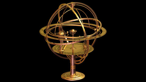 Armillary Sphere. Looped. Alpha Matte Animation