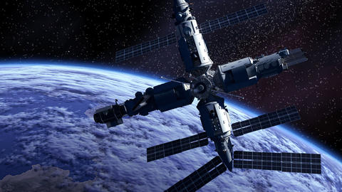 Space Station Orbiting Earth Animation
