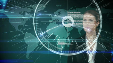 Businesswoman touching futuristic interface with international map on background Animation