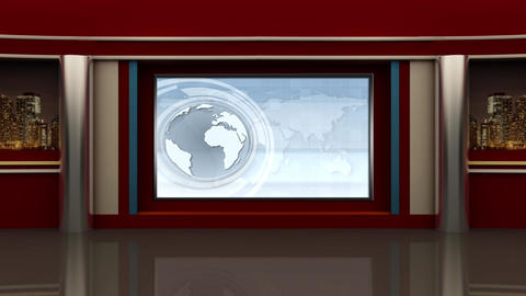 News TV Studio Set 91 Virtual Green Screen Background Loop stock footage