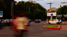 BUCHAREST, ROMANIA - JULY 2015 - Crowded Intersection,Sunday Eveninig Rush Time stock footage